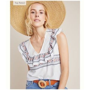 TOP Rated!! Anthro Giana Embroidered Blouse